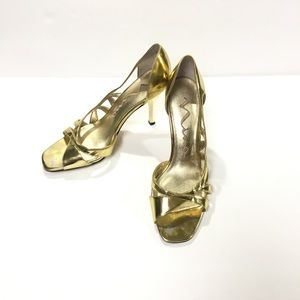 Nina Gold Open Toe Formal Sandals Size 8.5